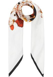 Burberry Lenço Quadrado De Seda Floral - Branco