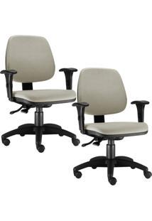 Kit Cadeiras Giratória Lyam Decor Job Bege