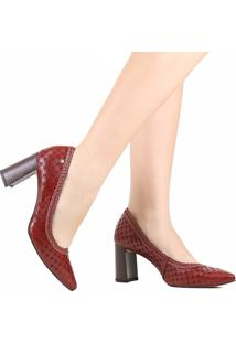 Sapato Scarpin Tanara Couro Salto Grosso Vermelho
