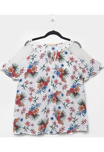 Blusa Heli Plus Size Estampada Feminina - Feminino-Branco