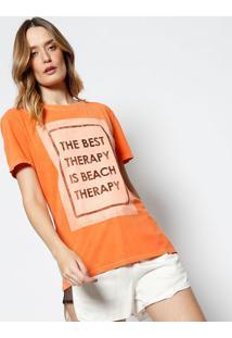 "Camiseta ""The Best Therapy..."" - Laranja & Pretacanal"