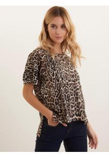 Camiseta Bobô Onça Malha Estampado Feminina (Estampado, M)