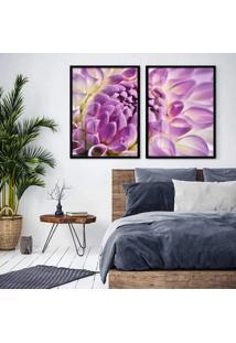 Quadro 65X90Cm Flor Lotus Lilas E Branca Moldura Preta Sem Vidro