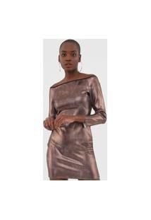 Vestido My Favorite Thing(S) Curto Ombro A Ombro Metalizado Bronze