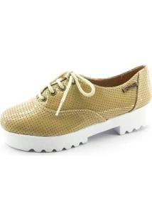 Oxford Quality Shoes Tratorado Verniz Perfurado Feminino - Feminino-Bege