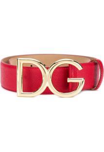 Dolce & Gabbana Cinto Dg De Couro - Vermelho