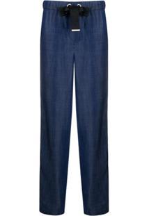Emporio Armani High-Rise Straight Leg Trousers - Azul