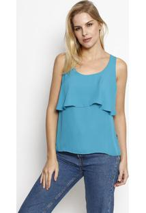 Blusa Lisa Com Recorte Sobreposto - Azul Escuro - Momoisele
