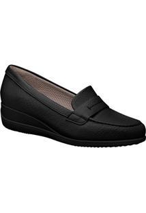 Loafer Anabela Com Recortes- Preto- Salto: 4Cmpiccadilly