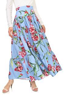 Saia Lança Perfume Longo Floral Azul
