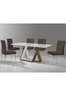 Conjunto Sala De Jantar Com Mesa Tampo De Vidro Ellis E 6 Cadeiras Nicole Aço Nobre Marrom/Off White