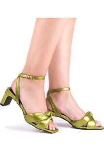 Sandália Salto Baixo Di Valentini Sol Napa Metalizado Feminina - Feminino-Verde