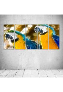 Quadro Decorativo - Parrots Neon - Composto De 5 Quadros