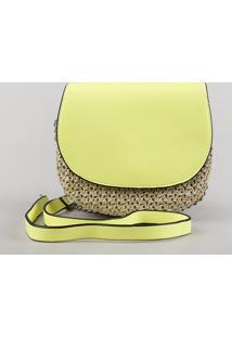 Bolsa Feminina Transversal Pequena Com Palha E Alça Corrente Verde Neon