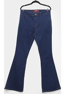 Calça Jeans Biotipo Plus Size Flare Cintura Alta Feminina - Feminino-Azul