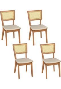 Kit 04 Cadeiras Decorativas Sala De Jantar Madeira Champagne Jade Linho Bege - Gran Belo