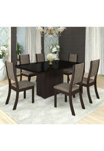 Conjunto Sala De Jantar Mesa Tampo Em Mdf/ Vidro Bella 6 Cadeiras Kiara Siena Móveis Choco/Canela