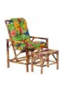 Conjunto Mesa E Cadeira De Bambu Cancun Para Área Edicula Jardim G19