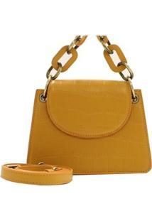 Mini Bolsa Croco Fashion Birô Feminino - Feminino-Amarelo