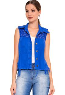 Colete Rosa K Renda Color Azul