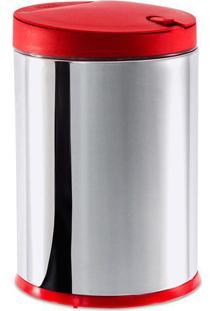 Lixeira Press- Inox & Vermelha- 4L- Brinoxbrinox