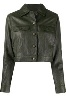 Michael Michael Kors Cropped Leather Jacket - Verde