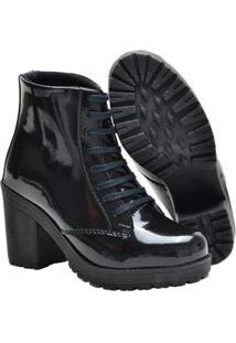 Bota Navit Shoes Tratorada Verniz Feminina - Feminino-Preto