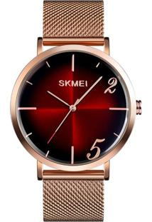 Relógio Skmei Analógico 9200 Rosê E Vermelho