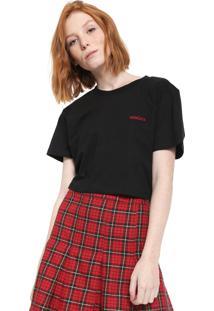 Camiseta Cropped Cavalera Bordada Preta