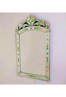 Espelho Veneziano Decorativo, Sala, Indiano Pequeno Plus Verde 50X90