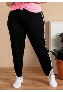 Calça Plus Size Preta Com Frisos Contrastantes