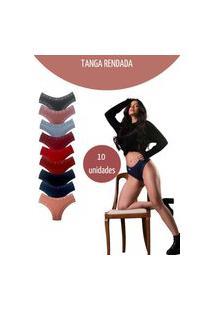 Kit C/10 Calcinha Esquarcio Tanga De Renda Sexy