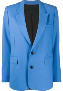 Ami Paris Blazer Com Abotoamento Simples - Azul