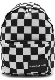 Mochila Calvin Klein Xadrez Branca