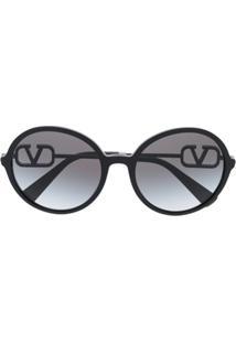 Valentino Eyewear Óculos De Sol Redondo Vlogo - Preto