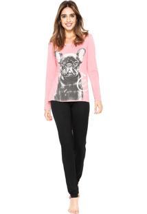 Pijama Any Any Pawsitive Rosa/Preto