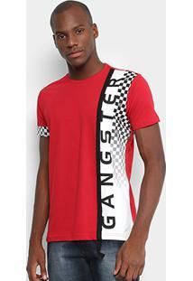 Camiseta Gangster Estampada Masculina - Masculino-Vermelho