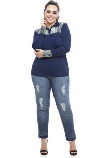 Camisa Melinde Polo Plus Size Snake Azul Marinho