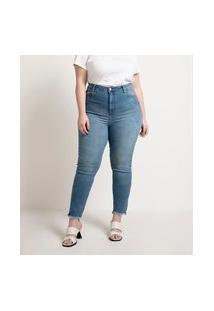 Calça Skinny Jeans Com Barra Desfiada Curve & Plus Size   Ashua Curve E Plus Size   Azul   54