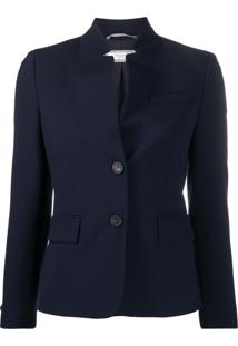 Peserico Slim-Fit High-Collar Blazer - Azul