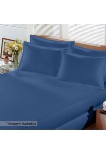 Jogo De Cama Image Rolinho Queen Size- Azul Escuro- Buettner