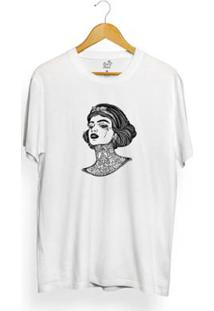Camiseta Long Beach Girl Tattoo Masculina - Masculino-Branco