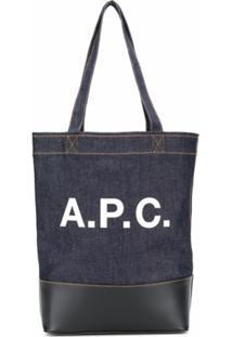 A.P.C. Bolsa Tote Jeans Com Estampa De Logo - Azul