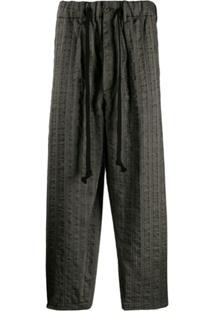 Uma Wang Calça Cropped Com Ajuste No Cós - Preto