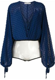 Martha Medeiros Body Bruna Tecido Texturizado - Azul