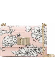 Furla Bolsa Tiracolo Com Efeito De Pele De Crocodilo E Estampa Floral 1927 - Rosa