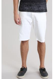 Bermuda Jeans Slim Destroyed Com Algodão + Sustentável Off White