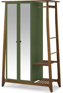 Armário Multiuso 2 Portas Stoka 982 Nogal/Verde Musgo - Maxima
