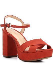 Sandália Couro Shoestock Meia Pata Tiras Cruzadas Feminina - Feminino