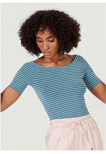 Blusa Básica Feminina Em Malha De Algodão Com Decote Canoa Azul